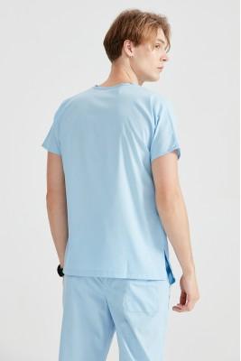 Açık Mavi Dr Greys Kesim Terikoton İnce Kumaş Renkli Tek Üst Forma