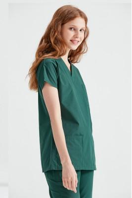 Haki Yeşili Dr Greys Kesim Terikoton İnce Kumaş Renkli Tek Üst Forma