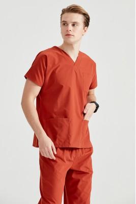 Kiremit Dr Greys Kesim Terikoton İnce Kumaş Renkli Tek Üst Forma