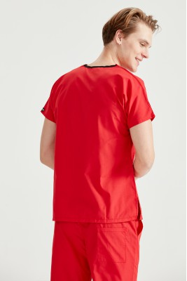 Kırmızı Dr Greys Kesim Terikoton İnce Kumaş Renkli Tek Üst Forma