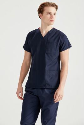 Lacivert Dr Greys Kesim Terikoton İnce Kumaş Renkli Tek Üst Forma